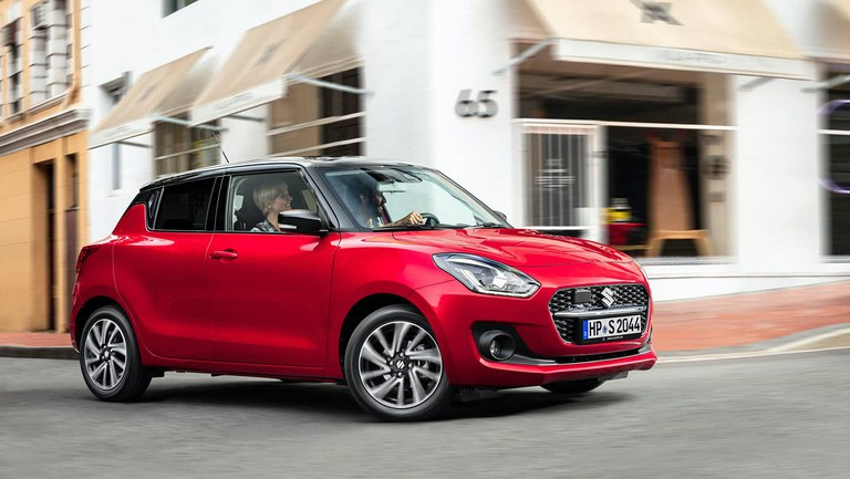 Suzuki Swift Hybrid in Red Pearl Metallic.
