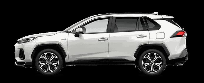 Von der Seite fotografierter Suzuki Across Hybrid in White Pearl Cristal Shine Metallic.