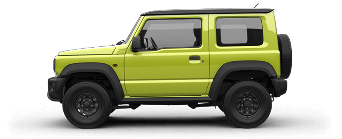 Seitlich fotografierter Suzuki Jimny in Kinetic Yellow