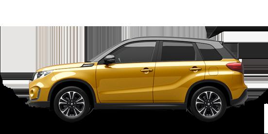 Seitenansicht des Suzuki Vitara Hybrid in Solar Yellow Pearl Metallic.