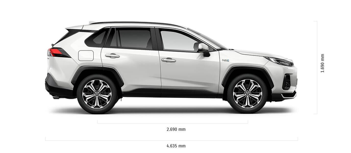 Seitlich fotografierter Suzuki Across Hybrid in White Pearl Crystal Shine Metallic mit Abmessungen von Länge und Höhe in mm.