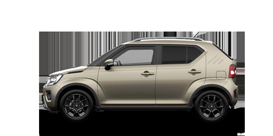 Seitenansicht des Suzuki Ignis Hybrid in Caravan Ivory Perl Metallic.