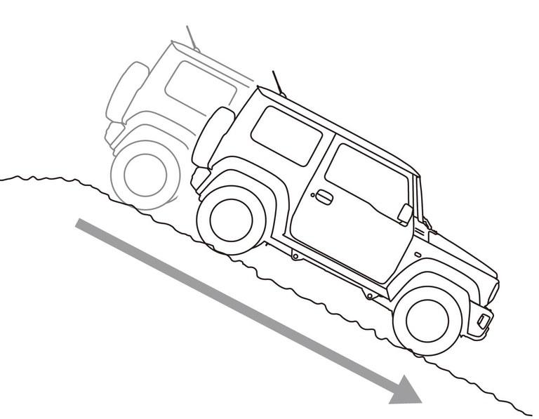 Grafik der Bergabfahrhilfe des Suzuki Jimny Hybrid.
