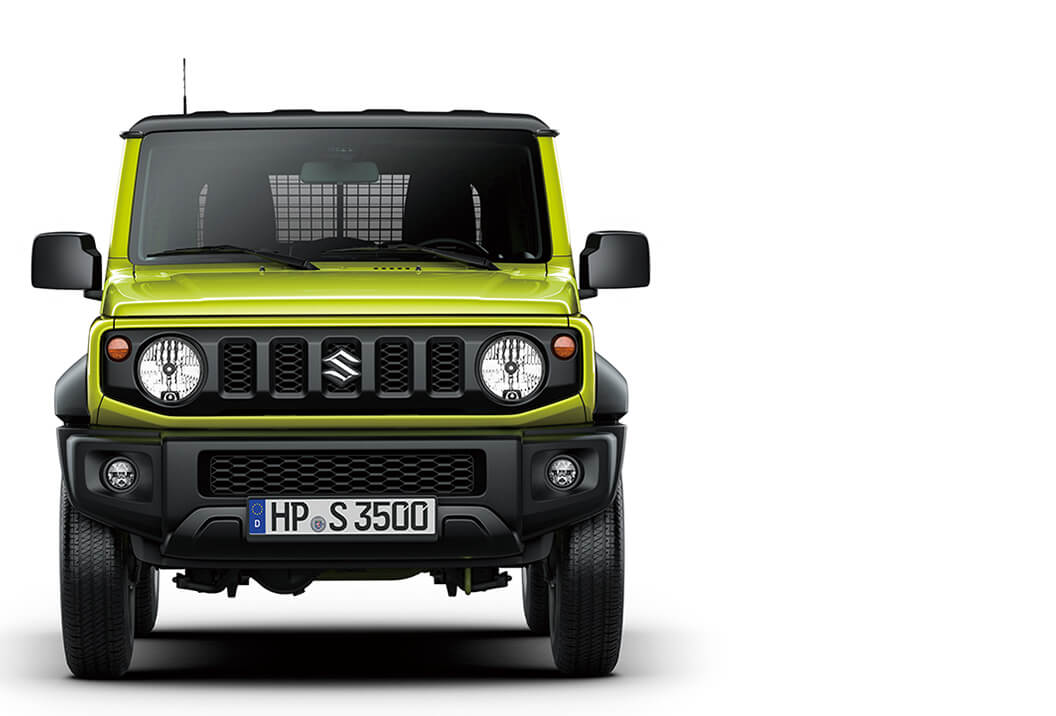 Frontansicht des Suzuki Jimny Hybrid in Kinetic Yellow.