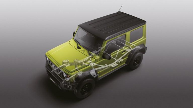 Grafik zum robusten Leiterrahmen im Suzuki Jimny Hybrid.