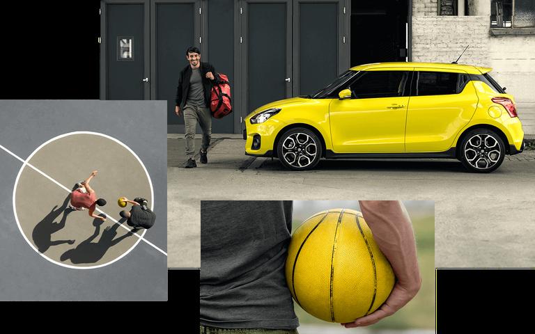 Suzuki Swift Sport Hybrid in Champion Yellow steht auf einem großen leeren Platz.