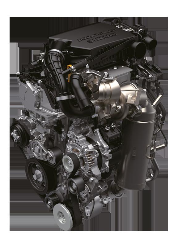 Ansicht des Suzuki Swift Sport Hybrid 1.4 Liter Boosterjet Motors.