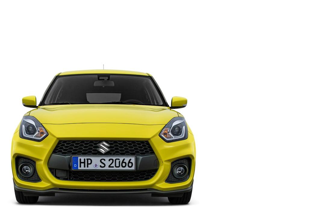 Frontansicht des Suzuki Swfit Sport Hybrid in Champion Yellow.