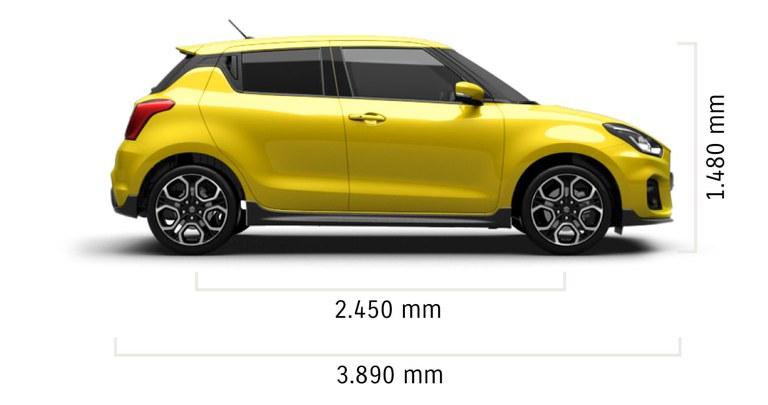 Seitlich fotografierter Suzuki Swift Sport Hybrid in Champion Yellow mit Abessungen von Länge und Höhe in mm.