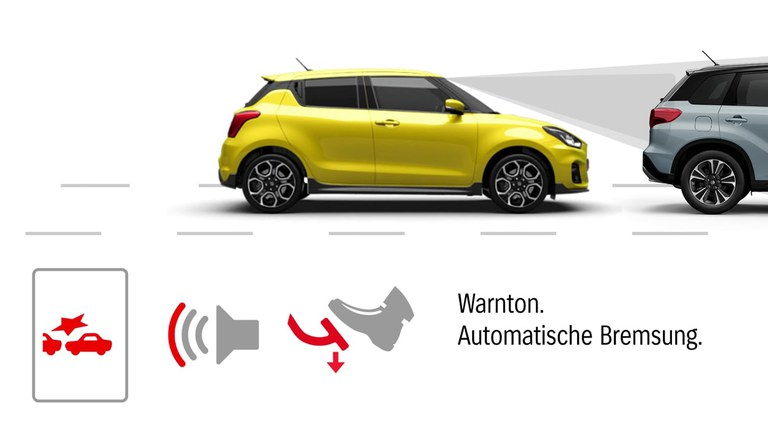 Grafik zur Dual-Sensor gestützten aktiven Bremsunterstützung (DSBS) im Suzuki Swift Sport Hybrid.