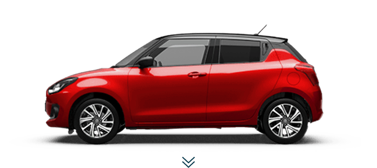 Seitenansicht des Suzuki Swift Hybrid in Burning Red Pearl Metallic.