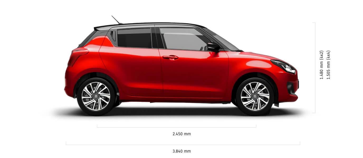 Seitlich fotografierter Suzuki Swift Hybrid in Burning Red Pearl Metallic mit Abmessungen von Länge und Höhe in mm.