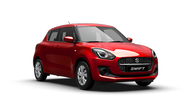Schräg von der Seite fotografierter Suzuki Swift Hybrid in Burning Red Pearl Metallic