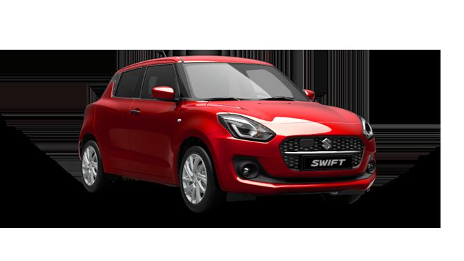 Schräg von der Seite fotografierter Suzuki Swift Hybrid in Burning Red Pearl Metallic.
