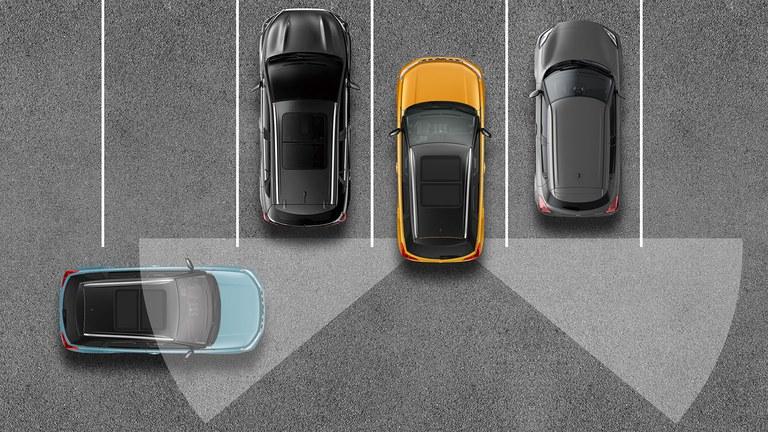 Grafische Darstellung der Rückfahr-Funktion im Suzuki Vitara Hybrid.
