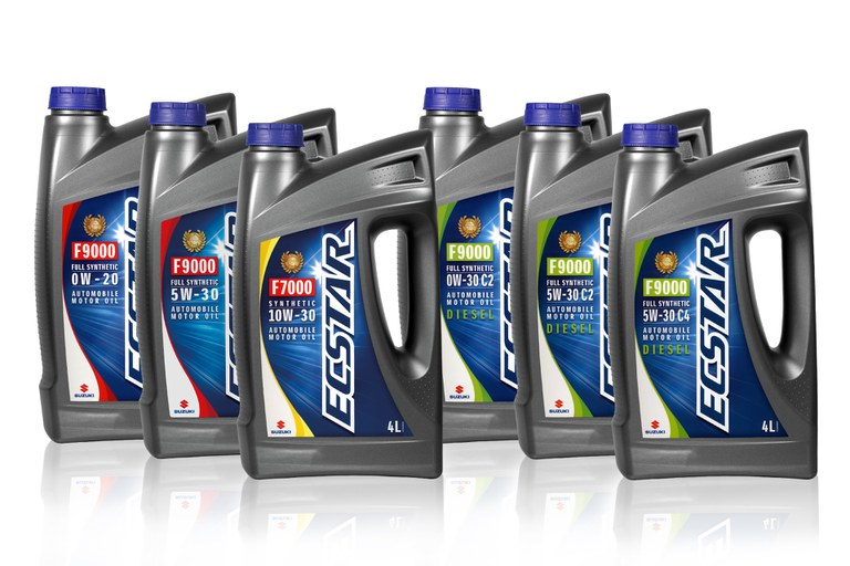 Öle der Suzuki ECSTAR Serie nebeneinander aufgestellt.